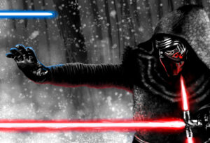 Kylo Ren black and white