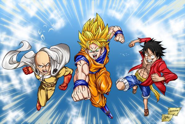Goku Luffy and Saitama