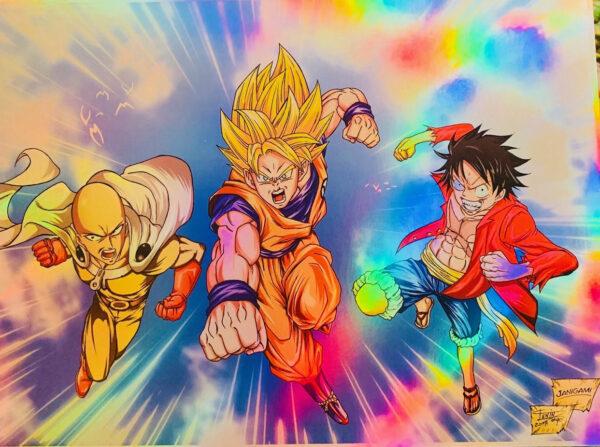 Goku Luffy and Saitama Holo